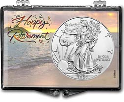 Happy Retirement American Silver Eagle Gift Display THUMBNAIL