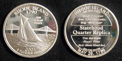Rhode Island Quarter Replica' Art Bar.