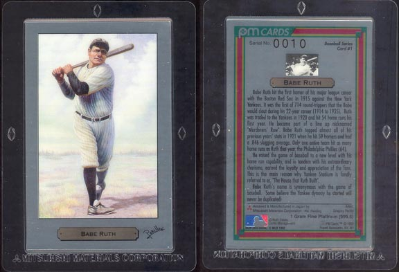 Babe Ruth by Gregory Perillo; 1 g 999.5 Platinum