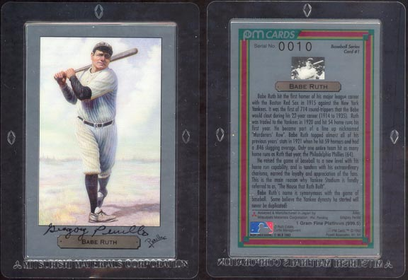Babe Ruth by Gregory Perillo - artist signed; 1 g 999.5 Platinum
