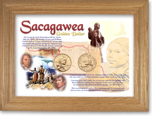 Sacagawea Golden Dollar Two-Coin Collector Frame LARGE