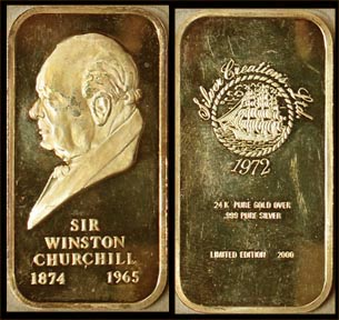 Winston Churchill, gold plated' Art Bar by Silver Creations. MAIN