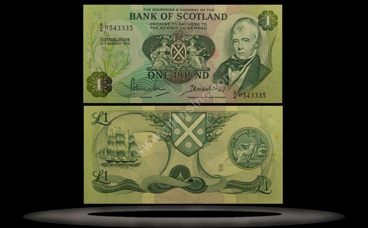 Bank of Scotland Banknote, 1 Pound, 10.8.1970, P#111a