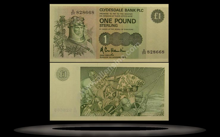 Clydesdale Bank PLC, Scotland Banknote, 1 Pound, 25.11.1985, P#211c MAIN