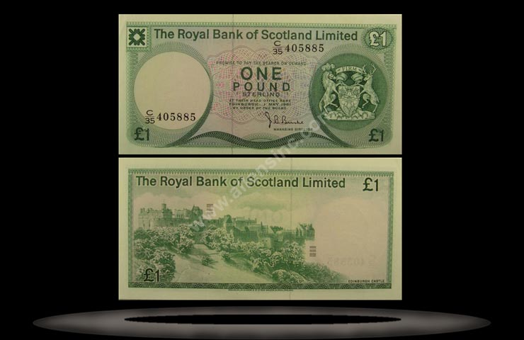 Royal Bank, Scotland Banknote, 1 Pound, 3.5.1976, P#336a