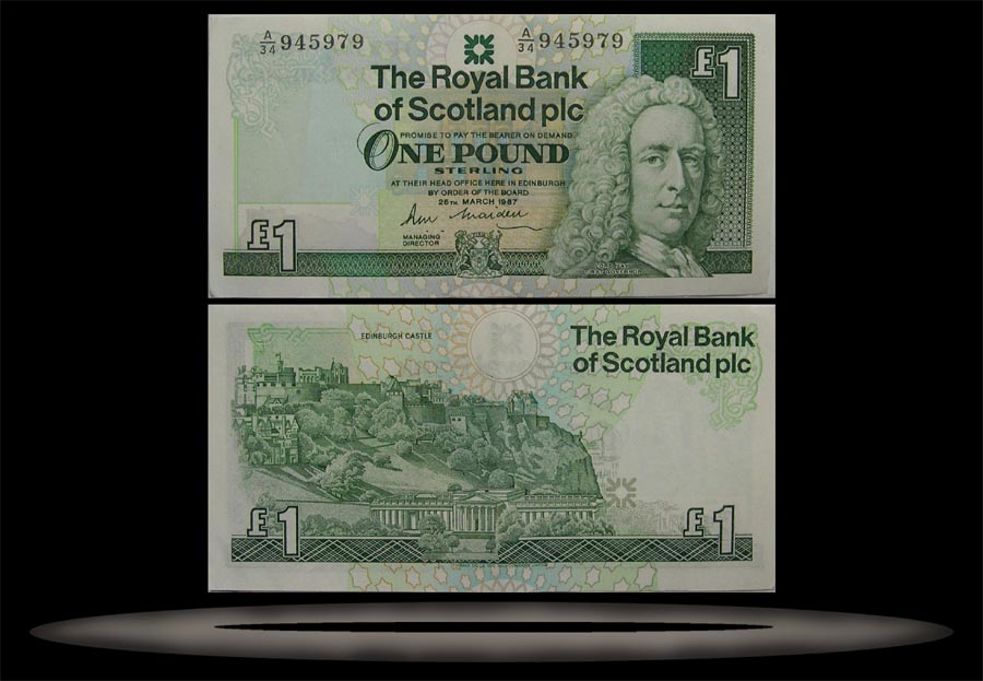 Royal Bank, Scotland Banknote, 1 Pound, 25.3.1987, P#346a MAIN