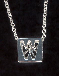 Sterling Silver Necklace, Letter W