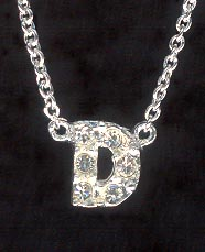 Sterling Silver Necklace, Letter D