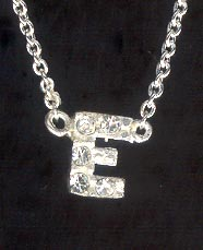 Sterling Silver Necklace, Letter E