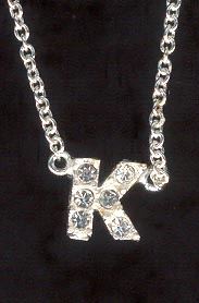 Sterling Silver Necklace, Letter K