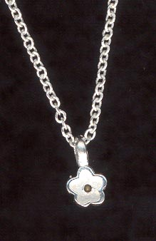 Sterling Silver Necklace, Small Flower