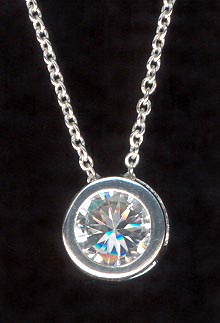 Sterling Silver Necklace, Round Solitaire
