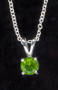 Sterling Silver Necklace, Green Solitaire