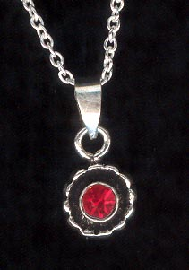Sterling Silver Necklace, Red Solitaire