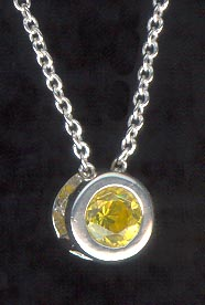 Sterling Silver Necklace, Yellow Solitaire