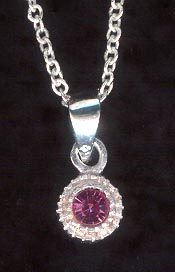 Sterling Silver Necklace, Pink Solitaire