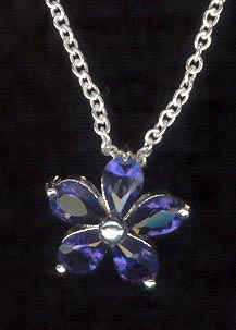 Sterling Silver Necklace, Deep Blue Flower