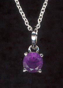 Sterling Silver Necklace, Purple Solitaire