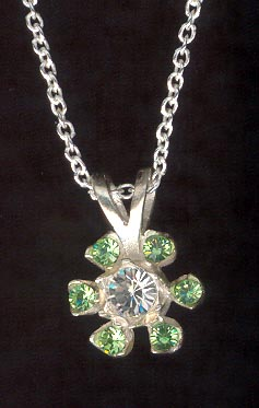 Sterling Silver Necklace, Light Green Flower