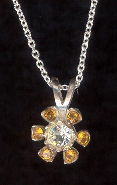 Sterling Silver Necklace, Golden Flower