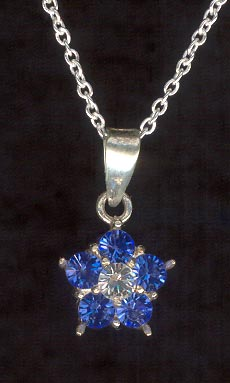 Sterling Silver Necklace, Blue Flower