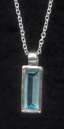 Sterling Silver Necklace, Aqua Rectangular