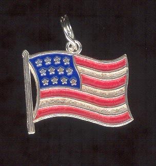 Sterling Silver Charm, American Flag
