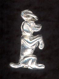 Sterling Silver Charm, Dog Begging