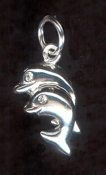 Sterling Silver Charm, Dolphins