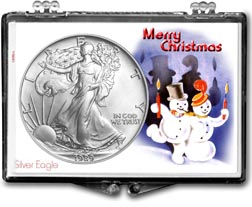 1989 Merry Christmas Snowmen American Silver Eagle Gift Display THUMBNAIL