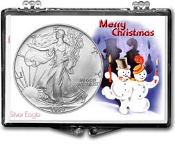 1990 Merry Christmas Snowmen American Silver Eagle Gift Display THUMBNAIL