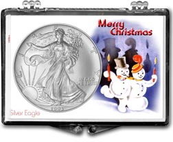 1993 Merry Christmas Snowmen American Silver Eagle Gift Display THUMBNAIL