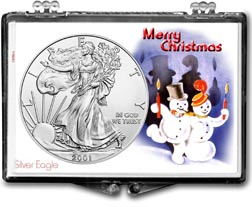 2001 Merry Christmas Snowmen American Silver Eagle Gift Display THUMBNAIL