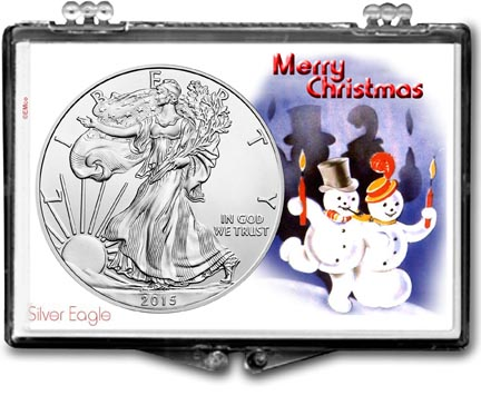 2015 Merry Christmas Snowmen American Silver Eagle Gift Display LARGE