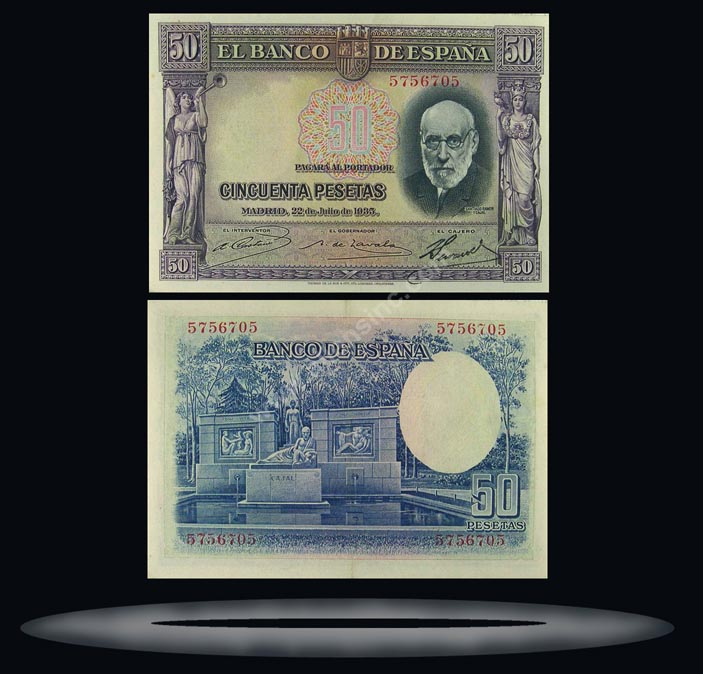 Spain Banknote, 50 Pesetas, 22.7.1935, P#88 MAIN