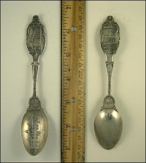 American Flag, George and Martha Washington, George Washington's House, Mt. Vernon, Virginia Souvenir Spoon