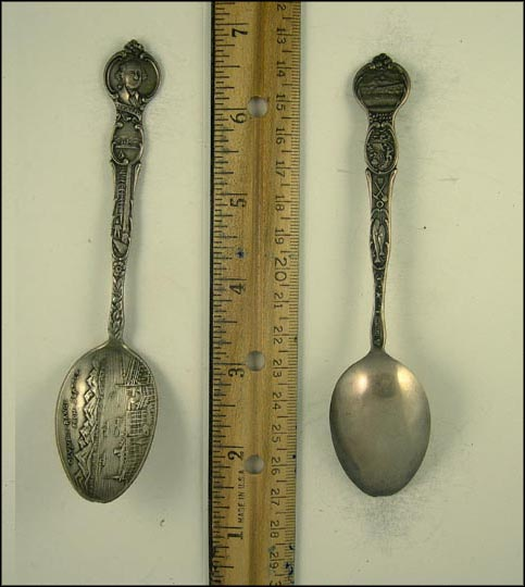 Olympic Range, George Washington, Ships, Lumberjack, Mountains, Miner, Fish, Seattle, Washington Souvenir Spoon
