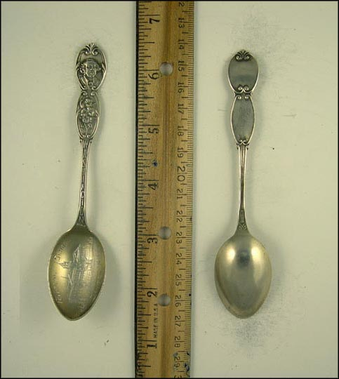 Central School, George Washington, Flowers, Dayton, Washington Souvenir Spoon