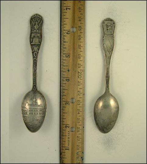 Independence Hall, Liberty Bell, Eagle, Scroll, William Penn Souvenir Spoon MAIN