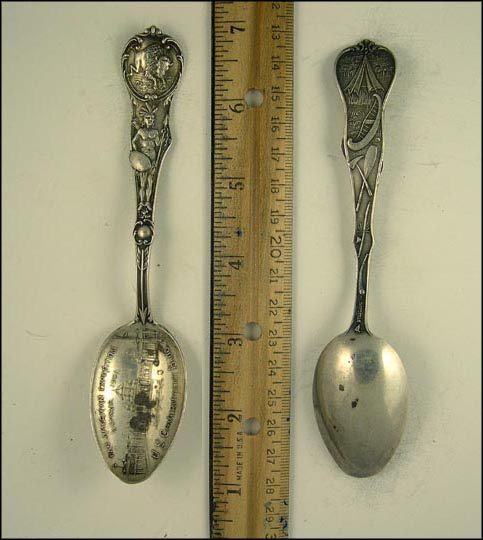 Buffalo, Native American, Pan-American Exposition, U.S. Government Building... Souvenir Spoon MAIN