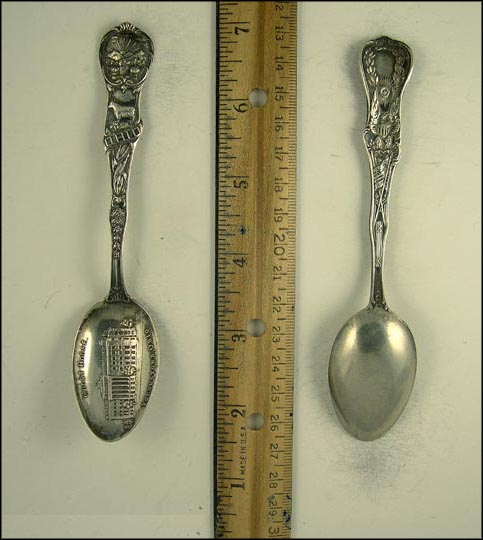Court House. Youngstown, Ohio, State Seal, Cow, Corn, Youngstown, Ohio Souvenir Spoon