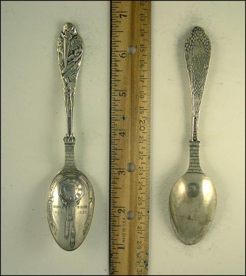 Stork With Baby, Barbara Marks Birth record, Cincinnati, Ohio Souvenir Spoon