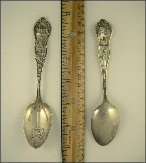 Post Office, Battle Monument, Washington Monument, Court House... Souvenir Spoon