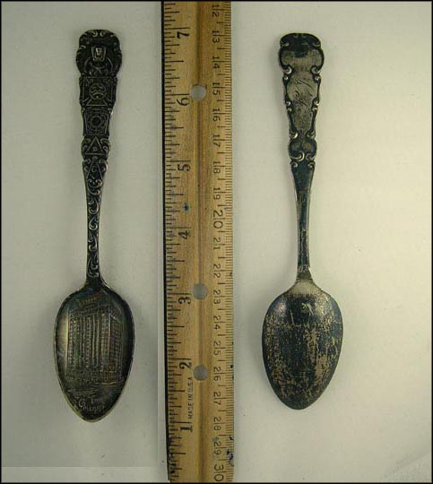 Masonic Temple, Masonic Symbols, Chicago, Illinois Souvenir Spoon MAIN