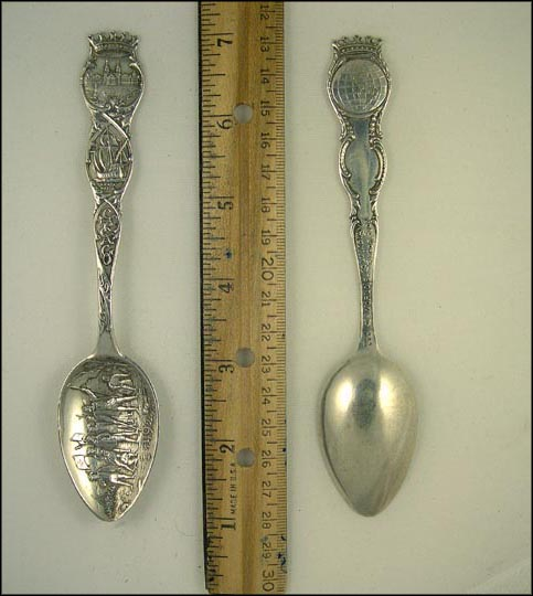 1492 Battle Scene, Santa Maria, Isabella, World's Columbian Expostion, Chicago, Illinois Souvenir Spoon