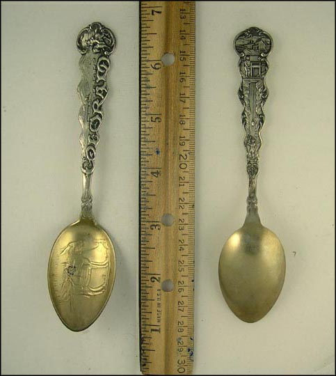 Donkey Carrying Tools and Dynamite, Mountains, Train and Horse and Buggy's... Souvenir Spoon MAIN