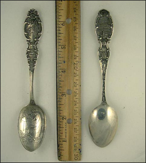 Entrance to the Subway, Bunker Hill 221 feet, Washington Elm Cambridge... Souvenir Spoon MAIN