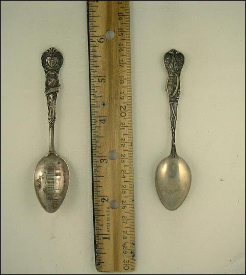 State Seal, Plymouth Rock, Minute Man, Bunker Hill, Springfield, Massachusetts Souvenir Spoon