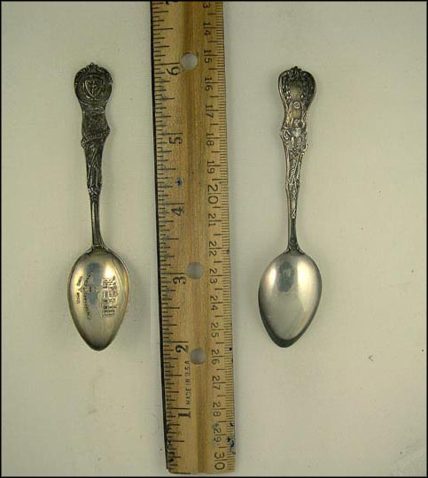 City Hall, Minute Man, Plymouth Rock, State Seal, Worcester, Massachusetts Souvenir Spoon MAIN