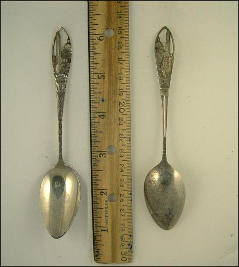 Cut Out of Washington Monument and White House, Mt. Vernon, Washington, District of Columbia Souvenir Spoon